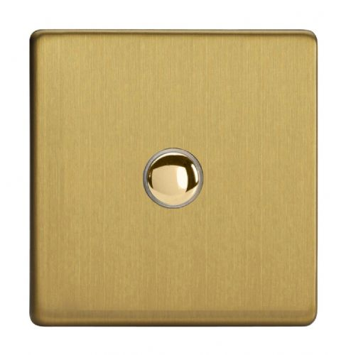 Varilight IJDBS001S Screwless Brushed Brass 1 Gang Touch Dimming Slave (use only with Master)